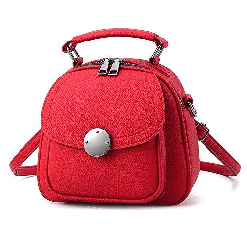 Mini Roter Rucksack Phone Rucksäcke PU Leder Backpack Handtasche Für Frauen Mädchen...