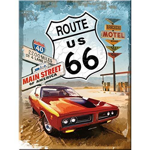 Nostalgic-Art 14229 US Highways - Route 66 Red Car, Magnet 8x6 cm