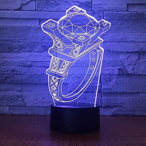 ilusión 3D Luz De Noche Led Diamond ring decoración del hogar y para codormir Con interfaz USB, cambio de color colorido