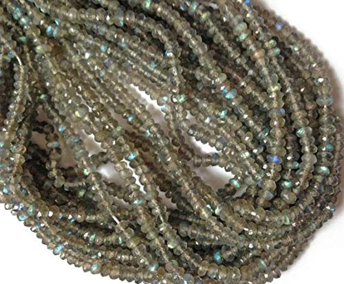 World Wide Gems Beads Gemstone 1 Strand Natural 8 Inch Long Long Labrarite Faceted rondelles. Approx. 4mm - 4.25mm Code-HIGH-4191