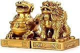 Une Paire de Pixiu/PiYao Bras Pur Statues Feng Shui Chinois de Collection Figurine de Maison et de Bureau Feng Shui Décor Attirer la Richesse et Statues Chance 0729 (Size : Medium)