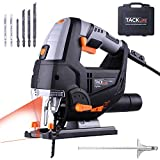 Scie Sauteuse TACKLIFE, 800W & 3000SPM, Laser & LED, 6 Vitesses Variables & 4 Modes de Coupe, Semelles Inclinables en Alliage, 6 Lames & Guide Parallle avec Mallette, PJS02A