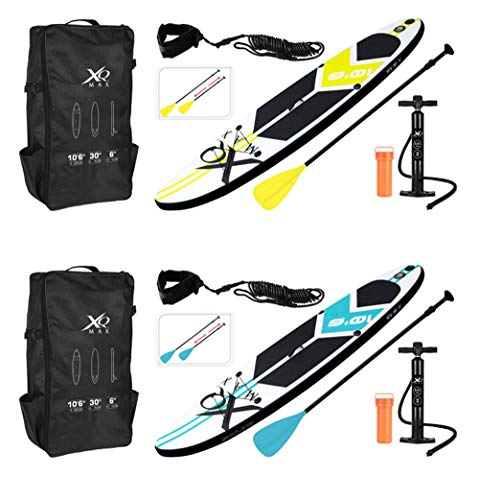 BeBuy24 Stand Up Paddling Board Aufblasbares SUP Board Set Aufblasbar 320 x 76 x 15 cm 150KG Paddle Surfboard Stabiles Leichtgewicht Komplettes Zubehör Paddel Hochdruck-Pumpe Rucksack (Gelb)