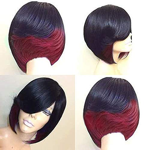 Short Fluffy Bob Straight Hair Wigs, Synthetic Hair Wig Short Straight Gradient Full Wigs Party Hair Wigs Heat Resistant Women Fashion Hairstyles Custom Cosplay Party Wigs Rose Red