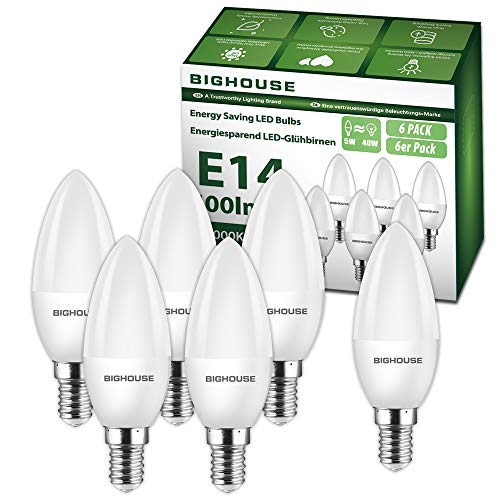 E14 LED Kerze Warmweiss (3000K), 5W 400 Lumen E14 LED Lampe Ersatz f¨¹r 40W Halogenlampen, C37 Leuchtmittel, 270¡ãAbstrahlwinkel, CRI>80, 220-240V AC, 6 St¨¹ck