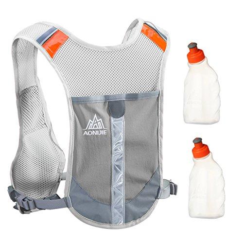 Geila Draußen Sport Marathoner Rennen Hydratation Pack Hydratation Weste Rucksack mit 2 Wasser Flaschen zum Trailrunning,Marathon (grau)