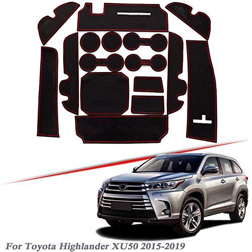 16 pièces Tapis de Fente de Porte de Style de Voiture , pour Toyota Highlander XU50 2015-2019 Tapis de rainure de Porte en Gel de silice intérieur Tapis Anti-poussière