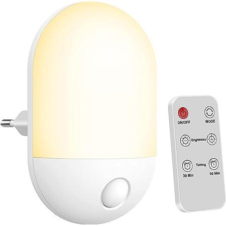 Veilleuse LED ,Veilleuse Bébé avec Télécommande,avec Fonction Minuterie,Lumière Chaude et Lumière Blanche, 3 Niveaux de Luminosité Réglables, Veilleuse LED pour Chambres d'enfants, Couloir, etc.