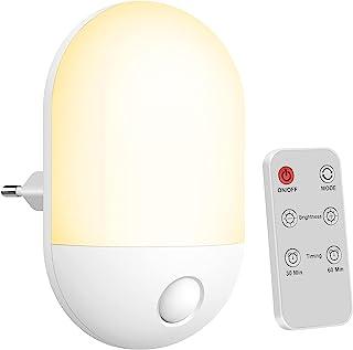 Veilleuse LED ,Veilleuse Bébé avec Télécommande,avec Fonction Minuterie,Lumière Chaude et Lumière Blanche, 3 Niveaux de Lu...