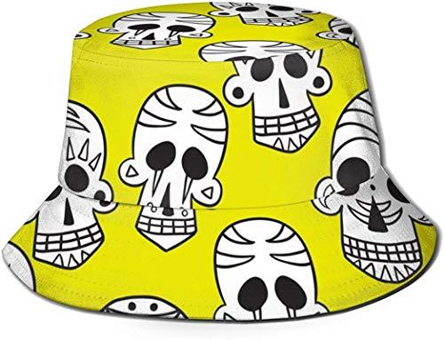 Sombreros de cubo transpirables de parte superior plana con calavera unisex con gafas de sol Bandera de EE. UU. Sombrero de Pescador Verano Sombrero de Pescador-Calavera Blanco y Amarillo-Talla Única
