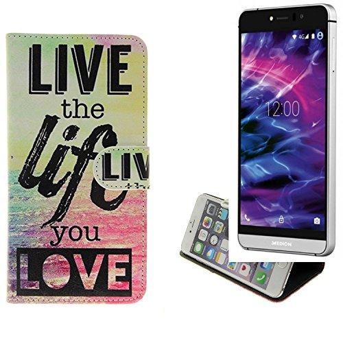 K-S-Trade Schutzhülle Kompatibel Mit Medion Life X5004 Schutz Hülle 360° Wallet Case ''live Life Love'' Schutzhülle Handy Tasche Handyhülle Etui Smartphone Flip Cover Standfunktion (1x)