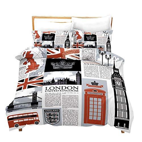 Feelyou London Duvet Cover Set Full for Kids Teens UK Themed Bedding Set The Big Ben Symbols Print Comforter Cover Decorative Telephone Booth Bedspread Cover Vintage Newpaper Microfiber