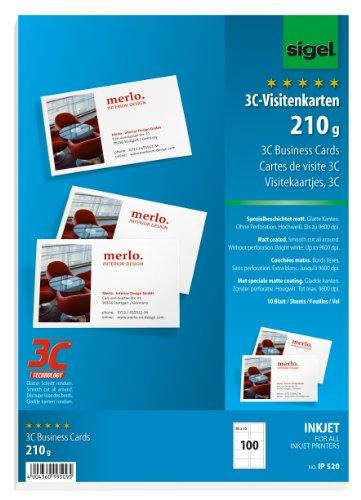 SIGEL IP520 Visitenkarten 3C für InkJet, 100 Stück (10 Blatt), hochweiß, spezialbeschichtet matt, glatter Schnitt, 210 g, 85x55 mm