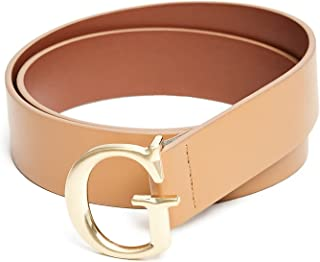 Guess Women's Brushed Logo Medium Faux Leather Buckle Belt - Brown
