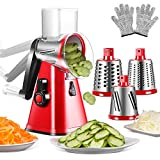 3-in-1 Vegetable Chopper Spiralizer Manual Cheese Grater Shredder with Interchangeable Stainless Steel Blades Rotary Vegetable Fruit Mandolin Slicer with Cut Proof Gloves and Cleaning Brush