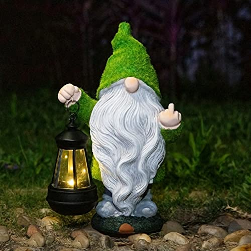 Flocked Garden Outdoor Gnome Statues Decor with Solar Lights ,Large Funny Gnome Garden Figurines for Outside Patio Yard Lawn House Farmhouse Sculptures Decorations Gifts