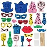 AIBAOBAO DIY Photo Booth 24 Pcs Foto Props de Fiesta Accesorios de Cabina de Foto Mezcla de Sombreros, Copa de Vino, Corbata, Coronas y Más para Fiesta de Variedades Cumpleaños Boda Accesorios