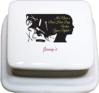 Style In Print Personalized Custom Text Its Never a Bad Hair Day Porcelain Treasure Box Porcelain