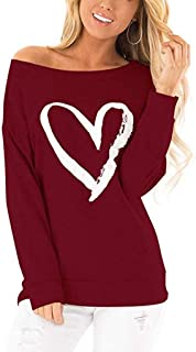 Women's Sweatshirt Off Shoulder Heart Print Tops Long Sleeve Cute Solid Pullover Tunic T-Shirt