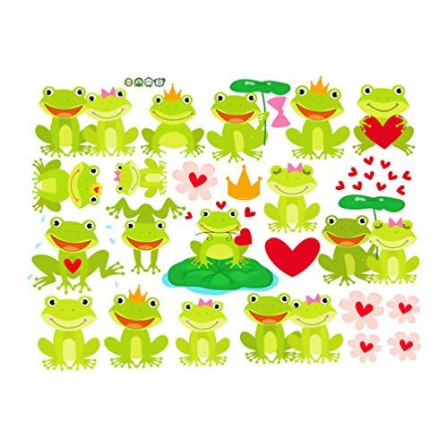 Cabilock Rana Animal Etiqueta de La Pared de Dibujos Animados Niños Etiqueta de La Pared para Guardería Bebé Dormitorio Impermeable Extraíble Papel Tapiz Decorativo (Verde Claro)