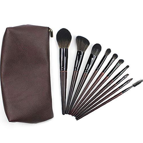 10 Pcs Pinceau De Maquillage Cheveux Bouclés De Fibre Maquilleuse Professionnelle En Bois Poignée Outil De Beauté Avec Sac Brosse PU