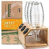Lyfezero SodaStream Flaschenhalter 3er aus Bambus - Abtropfhalter für Soda...