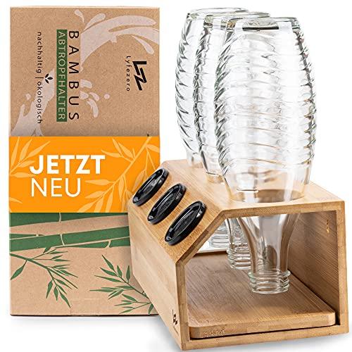 Lyfezero SodaStream Flaschenhalter 3er aus Bambus - Abtropfhalter für Soda Stream - Flaschenständer mit Abtropfwanne - Pflegeleichtes Abtropfgestell - Flaschentrockner für Glas und Plastik Flaschen
