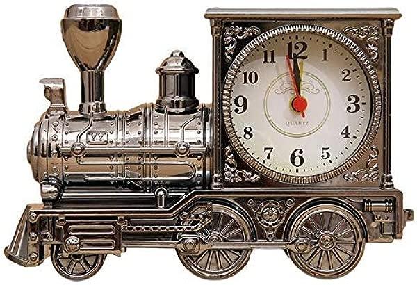 Wemet Novelty Alarm Clocks Retro Train Locomotive Alarm Clock Battery Operated Creative Student Kids Bells Vintage Antique Desktop Ornaments Gift Vintage Black