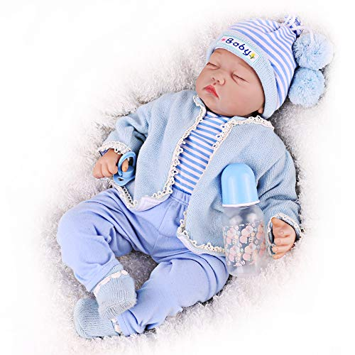 CHAREX Reborn Sleeping Baby Doll, 22 Inch Reborn Baby Doll Boy, Cute Realistic Lifelike Newborn Baby for Age 3+