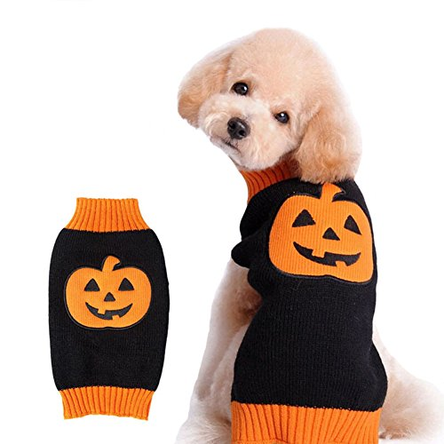 NACOCO Dog Sweater Pumpkin Pet Sweaters Halloween Holiday Party for Cat and Puppy (XS)