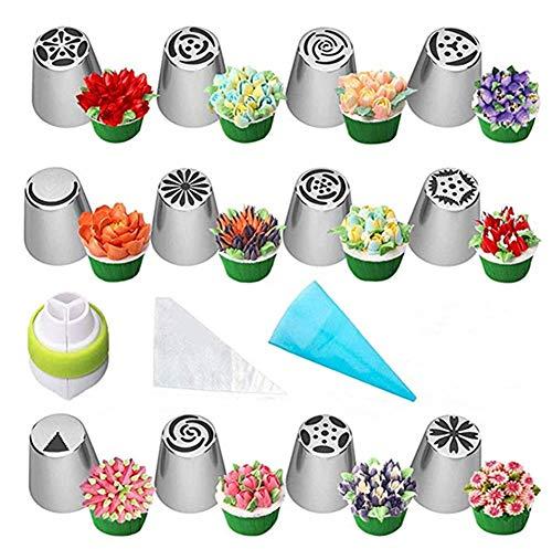 nadamuSun Russische Piping Tipps Set, 24pcs Kuchen Cupcake Dekoration Supplies Kit, Zuckerguss Düsen Blumen geformt, Zuckerguss Taschen und Tipps Backzubehör (24p)