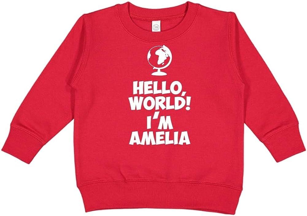 Im Amelia Mashed Clothing Hello Personalized Name Toddler//Kids Sweatshirt World