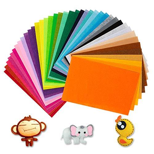 Wodasi Hoja de Fieltro, Papel Fieltro Manualidades, Fieltro Manualidades Tela no Tejido de Lana 40 Colores, Fieltro para Manualidades, Fieltro Colores, (20*30cm)