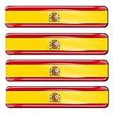 Biomar Labs® 4 pcs 3D Gel Pegatinas Bandera Nacional España Spain Silicona Adhesivo Autos Coches Motos Ciclomotores Bicicletas Ordenador Portátil F 21