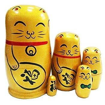 Winterworm Set of 5 Maneki Neko Lucky Cat Golden Wooden Traditional Russian Nesting Dolls Japanese Chinese Character Fu Handmade Christmas Birthday Gift for Kids Boys Girls Home Decoration