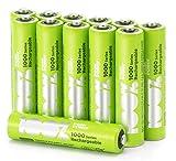 100% PeakPower Akkus AAA/Micro, Serie 1000 (min. 800mAh), NiMH, 12 Stück, wiederaufladbar ohne Memory-Effekt, 1,2 Volt (1,2V), LSD Technologie, Ready-to-Use