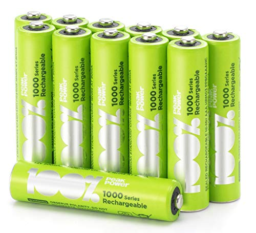 GP 12 x Pilas Recargables AAA 100% PeakPower   Capacidad mínima Garantizada 800 mAh NiMH   Baterías AAA Recargables Que Vienen precargadas Listas para Usar   Bajo Nivel de autodescarga…