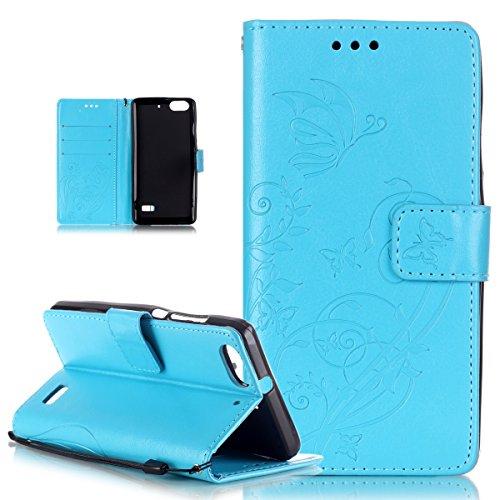 Kompatibel mit Huawei Honor 4C Hülle,Huawei G Play Mini Hülle,Prägung Blumen Reben Schmetterling PU Lederhülle Handyhülle Tasche Flip Wallet Ständer Schutzhülle für Huawei G Play Mini/Honor 4C,Blau