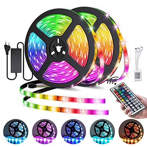 Elfeland LED Streifen 10M RGB LED Strip 300 LEDs 5050SMD LED Band Lichterkette Bänder Hintergrundbeleuchtung mit 44 Tasten Fernbedienung Selbstklebend außen Beleuchtung Full Kit