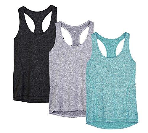 icyzone Débardeur de Sport Femme Dos Nageur Yoga Shirt sans Manches Running Fitness Tank Top, Lot de 3 (M, Noire/Gris/Vert)
