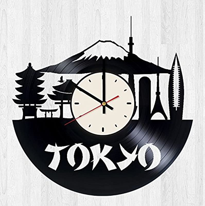 Tokyo Decor Vinyl Wall Clock Japan Unique Gifts Living Room Home Decor