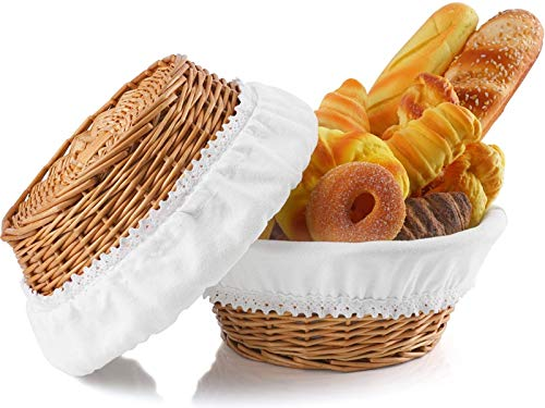 Hihotiner Large Bread Basket, Premium Natural Wicker Basket, with Removable Liner and Cover, 12 inch Bread Baskets for Serving, Round Bread Basket for Kitchen Counter, Bread Serving Basket