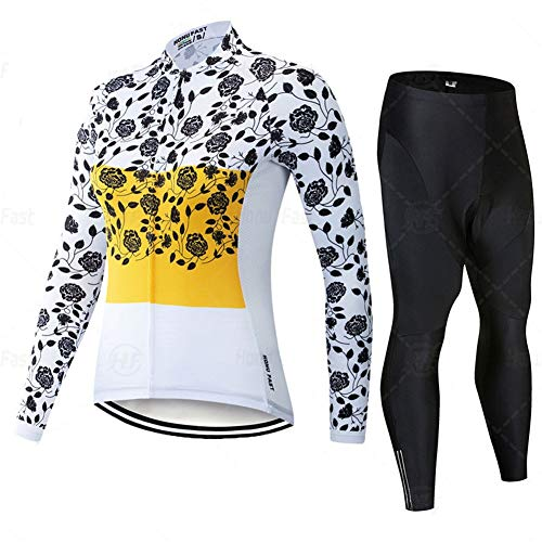 Classic Bicycle Sportswear - Jerseys de Ciclismo for Mujeres de Manga Larga Pro Racing Club Amarillo, Bicicleta de Carretera Exterior Anti-UV MTB MTB Trajes de Ciclismo (Color : A, Size : Small)