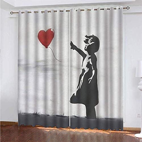 Young Girl 3D Digital Printing Polyester Fiber Curtains, Garden Living Room Kitchen Bedroom Blackout Curtains, Perforated Curtains 2 Piece Set