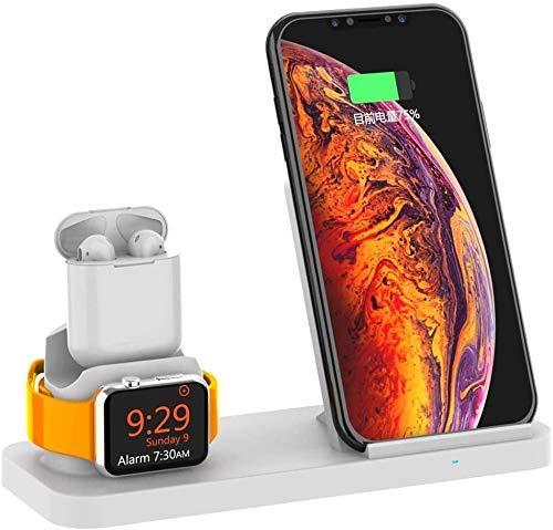 Caricabatterie Wireless per Stazione di Ricarica 10W Compatibile per iPhone XS Max XR X 8 Plus Pad per Ricarica Rapida per Apple Watch Iwatch 4 3 2