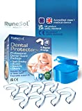 Runesol Ferula dental para bruxismo (8)| 100% libre de BPA | Tecnología de fácil moldeado | Paquete de seis protectores dentales en tres tamaños | Protector dental para evitar el rechinamiento