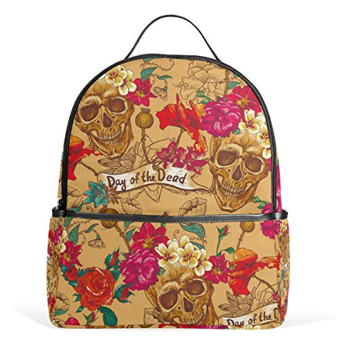 Hunihuni Casual Backpack,Vintage Day of The Dead Sugar Skulls College Bookbag Bag Travel Daypack Shoulder Backpack for Teen Boys Girls
