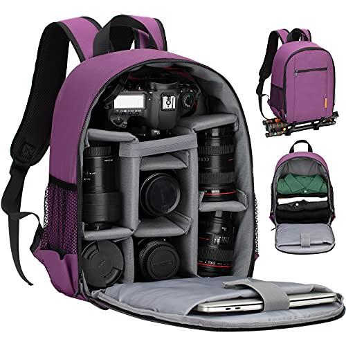 TARION TBS Zaino fotografico Zaino fotografico SLR piccolo Zaino per fotocamera impermeabile Borsa per fotocamera leggera e compatta con copertura antipioggia (viola)