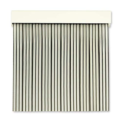 Cortinas Exterior Puerta | Material Plastico PVC y Barra Aluminio | Ideal para Terraza y Porche | Antimoscas | Transparente-Negro | 210 * 90