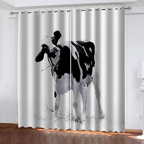 MXYHDZ Cortinas Dormitorio Opacas - Vaca animal blanco y negro Impresión 3D, Decoracion de Ventanas Salon Termicas Aisantes Frio y Calor - 150 x 166 cm para Oficina, Dormitorio habitación de los niños